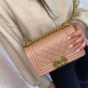 Chanel Small Caviar Nude Boy Bag